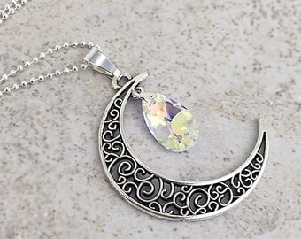 Crystal Moon Necklace - Crescent Moon Necklace - Filigree Necklace - Fantasy Jewelry - Moonstone Aries Taurus Gemini