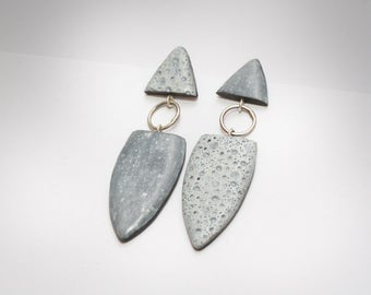 spindle post earrings in grayscale, lunar polymer clay dangles, silver stud earrings, art jewelry by Jagna Birecka