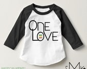 new* ONE LOVE rasta baby toddler raglan / 3/4 sleeve / rasta toddler / rasta baby / one love toddler / one love baby / 6 12 18 24 months