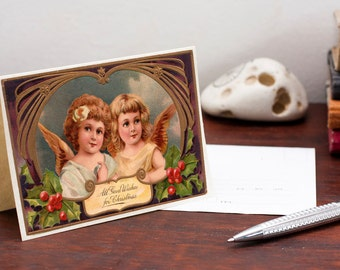 Printable Christmas Greeting Postcard Cherubs Retro Christmas Card Vintage Post card Printable Digital File Instant Download Birthday Card
