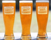 Groomsmen Gift Custom Engraved Beer Glasses Engraved Personalized Pilsner Glasses - ANY QUANTITY - 16oz Glass