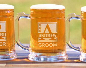 Personalized Engraved Groomsmen Beer Mugs Be My Best Man Be My Groomsman Gifts Custom Made ANY QUANTITY