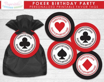 Casino Night Poker Theme Birthday Party Favor Tags   Red & Black   Personalized   Printable DIY Digital File