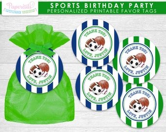 All Star Sports Theme Birthday Party Favor Tags | Green & Blue | Personalized | Printable DIY Digital File