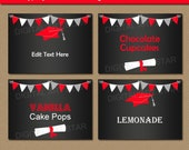 Chalkboard Graduation Food Labels, High School Graduation Candy Buffet Labels, Tent Cards, Buffet Cards, Party Labels, Favor Labels G7