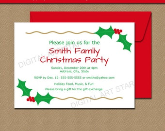 Printable Christmas Invite - EDITABLE Christmas Invitation Xmas Invitation Template - Holiday Invitation with Holly and Gold Accents INSTANT
