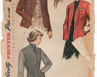 """1940's Simplicity Jacket and Vest pattern - Bust 32"""" - No. 2936"""