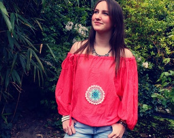 Bohemian Top Off Shoulder XS - XL Blouse Shirt Boho Hippie Women's Upcycled Clothing Recycled Eco Friendly OOAK