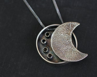 "Silver Shadowbox Pendant, Reticulated Silver Pendant, Moon Phase Pendant, Black Spinel, ""The Moon and the Stars"""