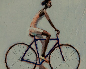 My blue bike. 2013  Oil painting print on  Rolled Canvas Fine Art Print
