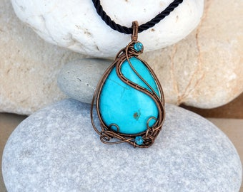 Turquoise wire wrapped necklace Gemstone pendant Natural stone Handmade jewelry Gift for her Best friend gift