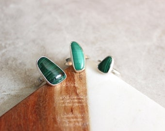 Malachite Ring, Sterling Silver Ring, Size 6.25 US