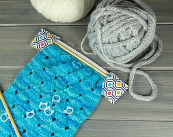 DPN Case - DPN Knitting Needle Organizer - Sock Progress Keeper - Knitting Needle Case - White and Blue with Bright Dots