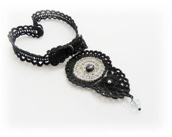 Crochet Choker - Natural Linen Necklace - Black Choker - Pendant Necklace - Bow Necklace - Lace Necklace