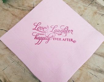 Light Pink Love Laughter and Happily Ever After Wedding Hand Stamped Paper Cocktail Napkins in Plum ink - Set of 50