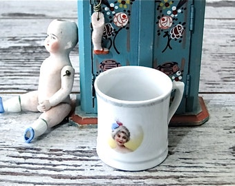 Small Children's Mug Portrait Cup Vintage Doll Child Tea Party Dishes 1940's