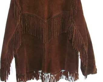 Vintage FRINGE Jacket - Leather - Jo O Kay - Hippie - Bohemian Chic - Rich Espresso Brown ~ Western ~ USA made ~ Fringed
