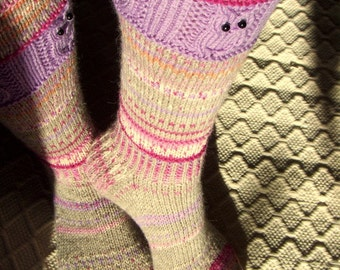 Fairytale land IV -Long kneehigh Wool socks 'Satumaa IV' Womens Girls hand knit multicolor Winter Big Warm Cosy Gift Handmade in FINLAND