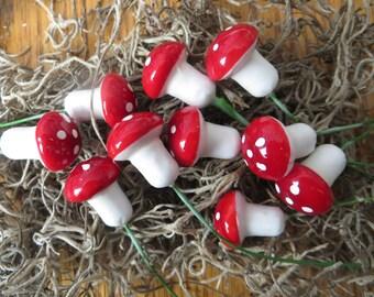 "Tiny Mushrooms,red mini mushrooms on stems for miniature plant pots,fairy garden,crafts,decor,Set of 10,DIY,1/2"" on 2"" stem"