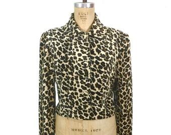 vintage 1960s leopard print jacket / fitted jacket / faux fur / fun fur jacket / animal print / women's vintage jacket / size medium