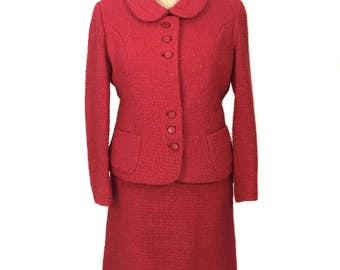 vintage 1960's Irish tweed skirt suit / Colette Modes Dublin / Donegal / pink red / peter pan collar / women's vintage suit / size medium