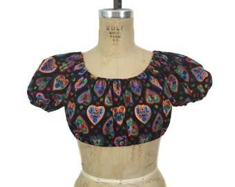 vintage 1970's heart crop top / black rainbow / folk art hearts / novelty print / women's vintage top / size small