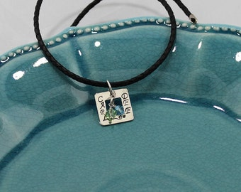 Sterling Silver, Personalized, 2-Name, Square Frame Pendant w/Birthstone Swarovski Crystal Accents on a 16, 18 or 20-Inch Black Leather Cord