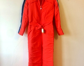70s Vintage Braun Ski Suit Bright Red Blue Stripe Snowsuit Womens XS