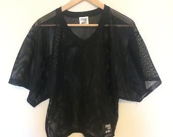 90s Black Mesh Jersey BIKE logo Women's Small Medium Health Goth