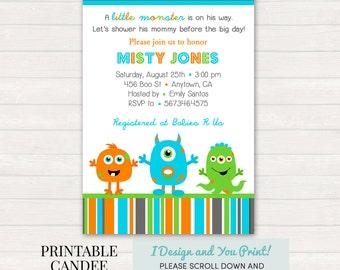 Monster Baby Shower Invitation - Monster Baby Shower - Monster Baby - Monster Shower Decor - DIY Custom Printable
