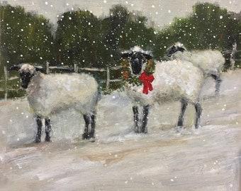 Christmas Sheep with Fence