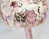 fairytale unicorn, button, bouquet, rhinestone bouquet, whimsical bouquet, Vintage brooch bouquet, floral flower, wedding posy bouquet