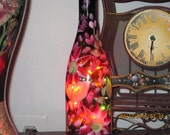Brown Wine Bottle with hand painted berry red/pink Daisies same color wild flowers, green leafes and berry red/pink baby breath