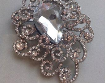 Large Rhinestone Brooch Pin, swirl design, pear shape, silver tone, huge, original, bridal / wedding brooch, egst, Greece