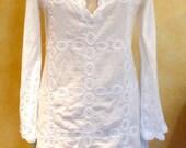 White Hippie Boho Crochet Cotton Dress (Size M) Hand Made