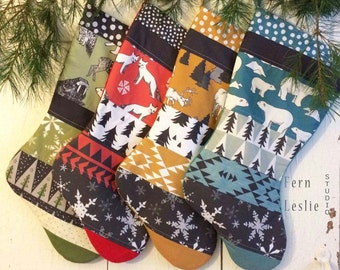 Modern Christmas Stocking Set of 4, Handmade, Personalized, Arctic Collection, Fox, Polar Bear, Reindeer, Quilted Holiday Decor, Red Teal
