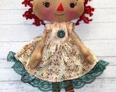 Pretty in Peach Spring Annie - Primitive Raggedy Ann Doll