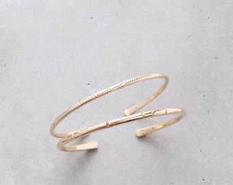 Notch + Forge Cuff Set / Mixed Layering Bangle Bracelets / 14k rose + yellow gold filled
