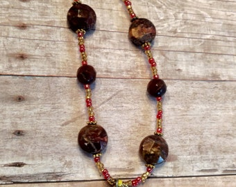 Tribal necklace - metal necklace - red necklace - yellow necklace - red jasper necklace - handmade necklace - tribal jewelry - metal jewelry