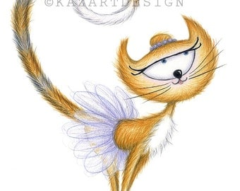 Tutu Cat, A4 PRINT – Gifts for her, Cats, Cat Art, Ballet Gifts, Cute Cats, Funny Cats, Animal Art, Ballerina, Gifts for Dancers, Dancing