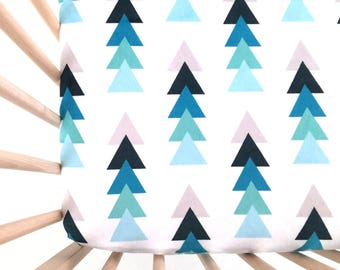 Crib Sheet True Blue Triangle Stacks. Fitted Crib Sheet. Baby Bedding. Crib Bedding. Crib Sheets. Blue Crib Sheet.