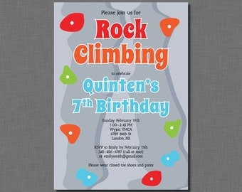 Boy Rock Climbing Invitation birthday girl MC21 Digital or Printed