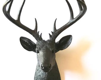 MATTE BLACK XL Faux Taxidermy Stag / Deer head wall mount wall hanging Black animal head faux taxidermie faux animal head farm house decor