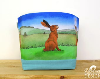 Hare Fabric Storage Box, Storage Basket, Fabric Basket, Fabric Organiser, Storage Bin, Hare Gift, Rabbit Lover Gift