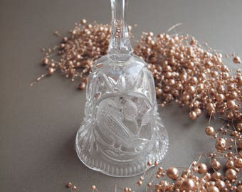 Bohemian crystal bell bird design vintage cut glass collectible bell gift for her gift for mom
