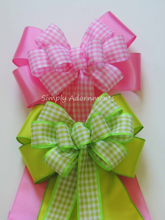 Pink / Lime Gingham Wreath Bow Pink Spring Check Bow Easter Door Hanger Bow Pink Green Easter Gift Bow Green Pink Birthday Party Decorations