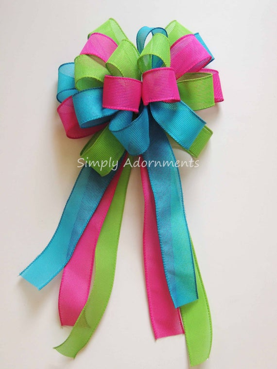Pink Blue Green Easter Wreath Bow Pink Turquoise Lime bow Shower Birthday Party Decor Hot pink Blue Green Pew Bow Shower Decor Gift Bow