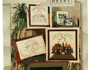 Quilt Pattern Sisters & Homes Wall Hanging / Pillow Vintage Sewing Patterns, Embroidery or Applique, by Art to Heart, nancy halvorsen, uncut