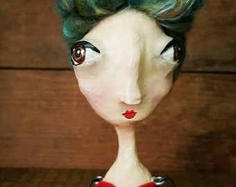 Mary Beth OOAK paperclay hinged Art Doll