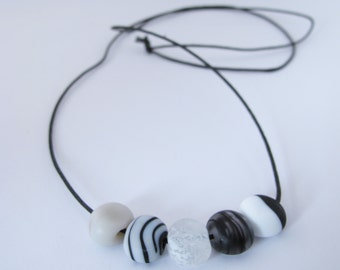 Black and white beach pebble necklace - river stone -  80 cm long - handmade lampwork beads